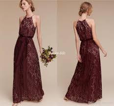 Cheap Boho Clothes Online Deep Burgundy Lace Long Bridesmaid Dresses Halter Sheath Sash 2017