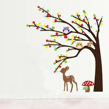 diy kid u0027s child room decal wallpaper cartoon cute animal deer owl