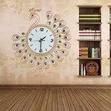 living room wall clock 2017 luxury high quality large antique diamond peacock wall clocks