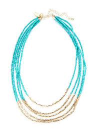cara couture cara couture jewelry gold blue bead multi strand necklace