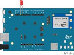 Led Blinking Circuit Diagram Javascript Robotics Led Blink On Intel Edison Arduino Board With
