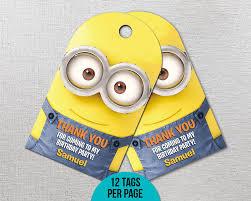 minion gift bags despicable me 3 thank you tags minions birthday decor minion