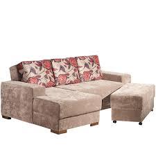 chaise e 60 sofá 3 lugares com chaise e puff armazém da mobília multiporpouse