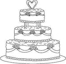 wedding cake outline cake coloring pages getcoloringpages