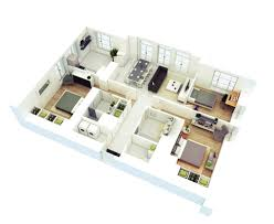 3d small house floor plans 3 bedroom house plans