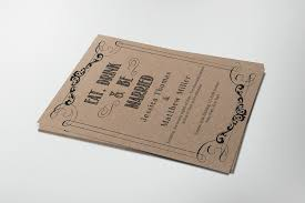 Kraft Paper Wedding Invitations Eat Drink U0026 Be Married Rustic Kraft Paper Wedding Invitation