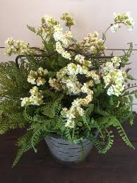 Fern Decor by Bucket Arrangement Fern Arrangement Galvanized Bucket