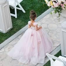 cute pink tulle flower dress new arrival long children
