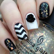 nailsbyerin black and white chevron nails born pretty store review