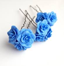flower hair pins blue flower pin blue flower hair pin bobby pins flower pin