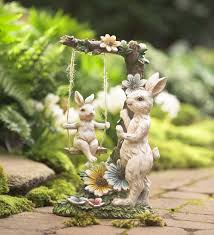 fairy garden statues mama bunny with baby on swing figurine in garden statues animal