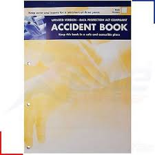 accident reporting book accident report book a4 sheet injury log data protection act