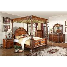 Royal Bedroom by Meridian Furniture Royal Post Q Royal Cherry Queen Canopy Bed W