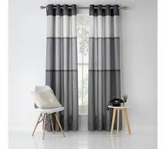 Curtains Co Buy Home Banded Stripe Unlined Eyelet Curtains 117x137cm Grey At