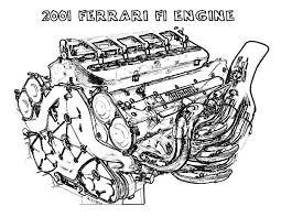 ferrari car f1 engine parts coloring pages place color