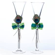 peacock favors peacock feather toasting flutes toasting flutes cake server