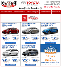 toyota home service new car specials new cars in framingham ma bernardi toyota