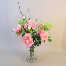 artificial flower arrangements flower arrangements pink roses and dill flowers ros041