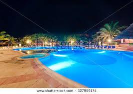 Pool At Night Pretty Swimming Pool Night Local Resort Stock Photo 48973390