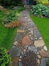 garden landscape design eye catching garden path ideas from pebbles