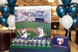 yankee stadium seating card display baseball themed bar mitzvah