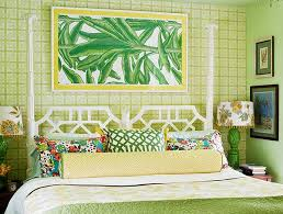 Tropical Bedroom Designs Airy Tropical Bedroom Applied Green And White Bedding Ideas