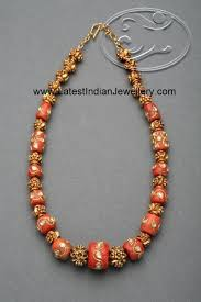 bead design jewelry necklace images Stylish coral beads necklace intricate gold work on the corals jpg