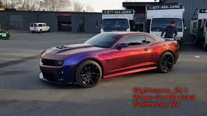 camaro zl1 colors nightmare zl1 camaro flip flop wrap check out that color change