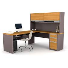 I Shaped Desk furniture bestar connexion l shaped desk with hutch in gray and