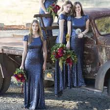blue sequin bridesmaid dress get cheap navy bridesmaid dresses sleeve aliexpress