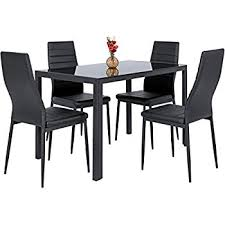 amazon com vecelo dining table with 4 chairs silver kitchen