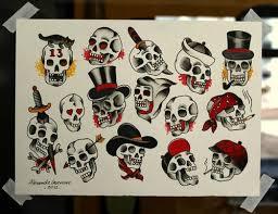 traditional skull flashblood sweat ink bjuailn