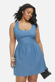 size daisy denim fit and flare dress