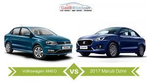 volkswagen ameo 2017 maruti suzuki dzire vs volkswagen ameo u2013 specs comparison