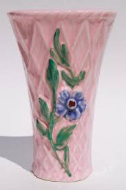 Vase Wall Sconce Vintage Pottery Wall Pockets Pretty Pink Flower Basket Wall