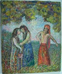 mortimer borne ruth and naomi oil painting from