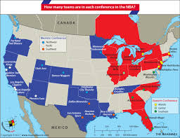 map of nba teams how many teams are in each conference in the nba answers