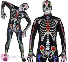 day of the dead skeleton skin suit halloween fancy dress costume