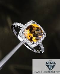 citrine engagement rings cushion cut citrine diamond pave halo engagement ring