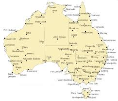 major cities of australia map water and the land wind