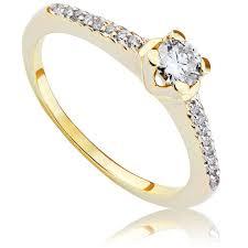 pierscionek zareczynowy pierścionek zaręczynowy z brylantami z żółtego złota p0474zb