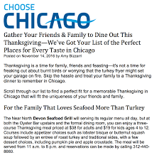 restaurants open on thanksgiving in chicago devon seafood grill celebrates thanksgiving holiday with a