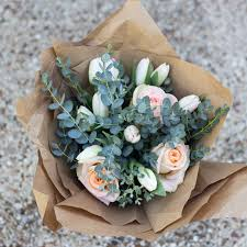 Flowers In Waco - kraft paper wrapped bouquet rosetree floral design events