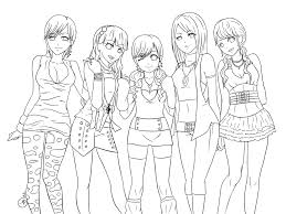 Oc Girls Night Out Lineart By Cat Pan On Deviantart Coloring Pages Kpop