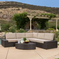 Sectional Patio Furniture Sets Reddington Outdoor Brown Wicker Sectional Seating