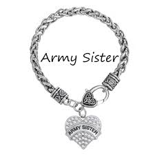crystal heart charm bracelet images Army sister crystal heart charm bracelet silver plated jpg