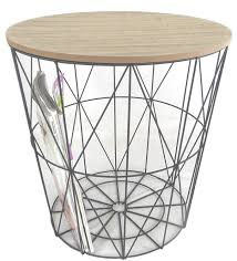 Wire Side Table Metal Wire Small Bedside Occasional L Table With Lift Lid