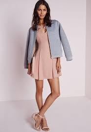 crepe cut out swing skater dress blush missguided