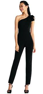 homecoming jumpsuits one shoulder crepe jumpsuit with bow accent papell
