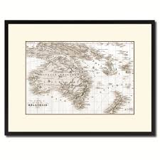 new zealand oceania australia vintage sepia map home decor wall